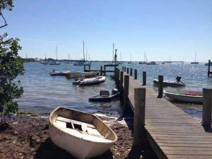 A dinghy dock serves as a landing point for boaters anchored off the Historic Bridge Street Pier in Bradenton Beach. Officials say the number of boats at the anchorage has doubled in the past two years. Islander Photo: Merab-Michal Favorite