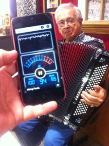 Frank Padula plays accordion in the food court at the Red Barn Flea Market in Bradenton April 5 — at a fluctuating decibel level of 90-plus and minus any complaints. Islander Photo: Bonner Joy - See more at: http://www.islander.org/2014/04/new-bb-noise-ordinance-causes-confusion-complaints/#sthash.gE4dxx1p.dpuf